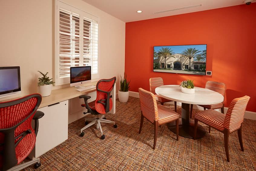Interior view of Business Center at The Enclave at South Coast Apartment Homes in Costa Mesa, CA.