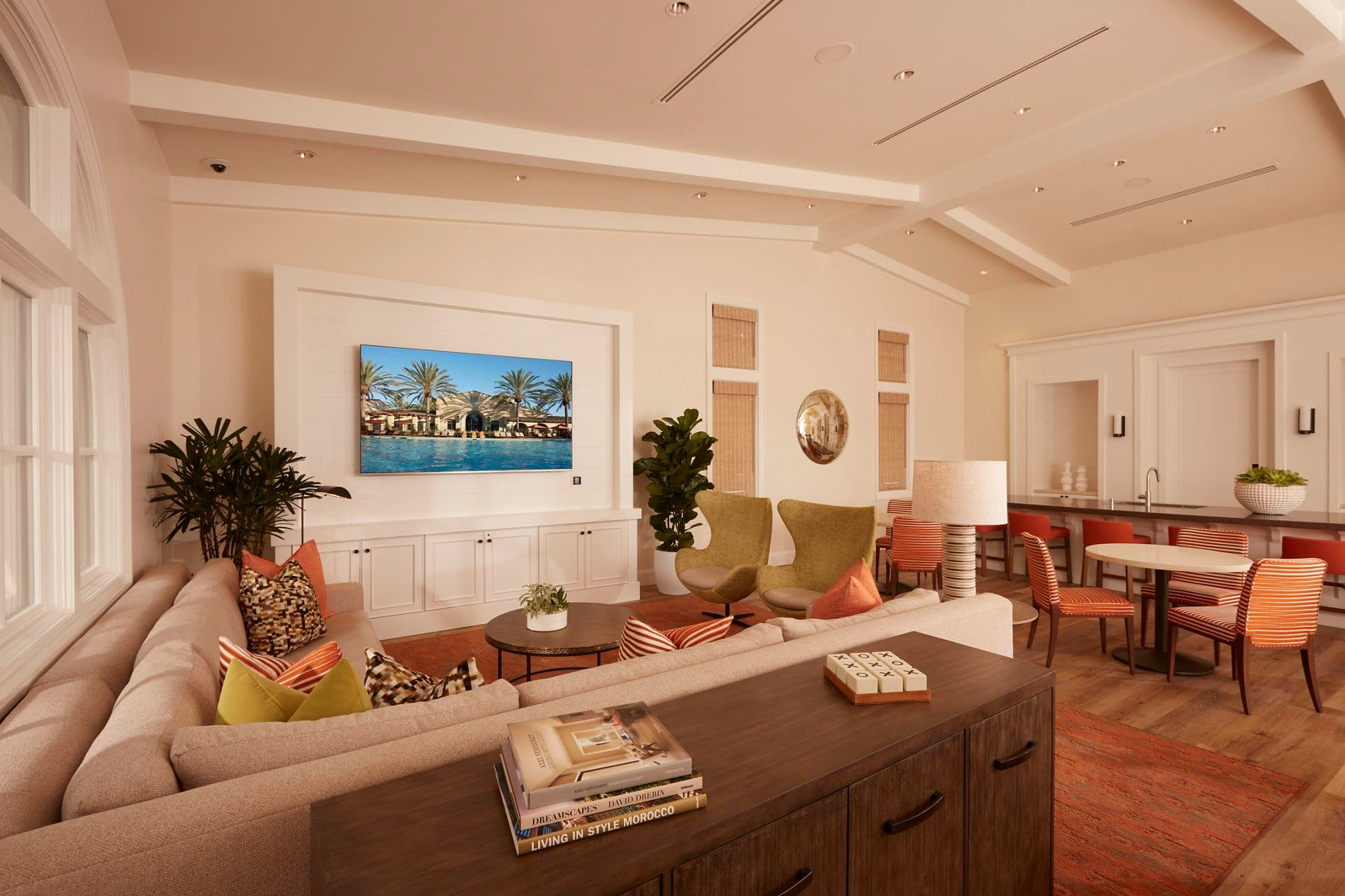 Interior view of Clubhouse at The Enclave at South Coast Apartment Homes in Costa Mesa, CA.