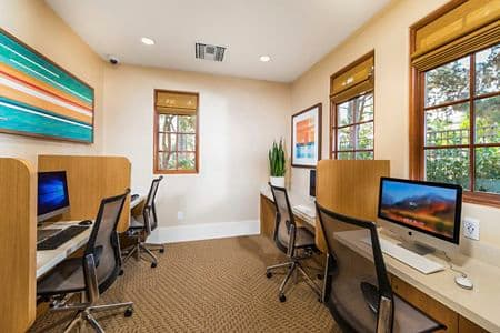 Interior view of Business Center at Anacapa Apartment Homes in Irvine, CA.