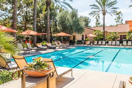 Pool view at Anacapa Apartment Homes in Irvine, CA.