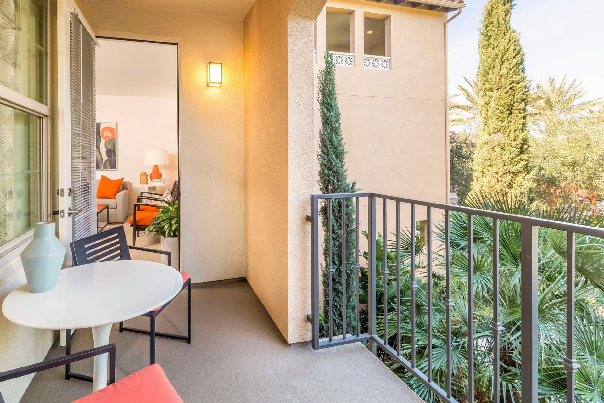 Interior view of balcony at of Avella Apartment Homes in Irvine, CA.