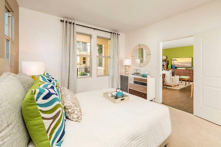 Interior view of bedroom at of Avella Apartment Homes in Irvine, CA.