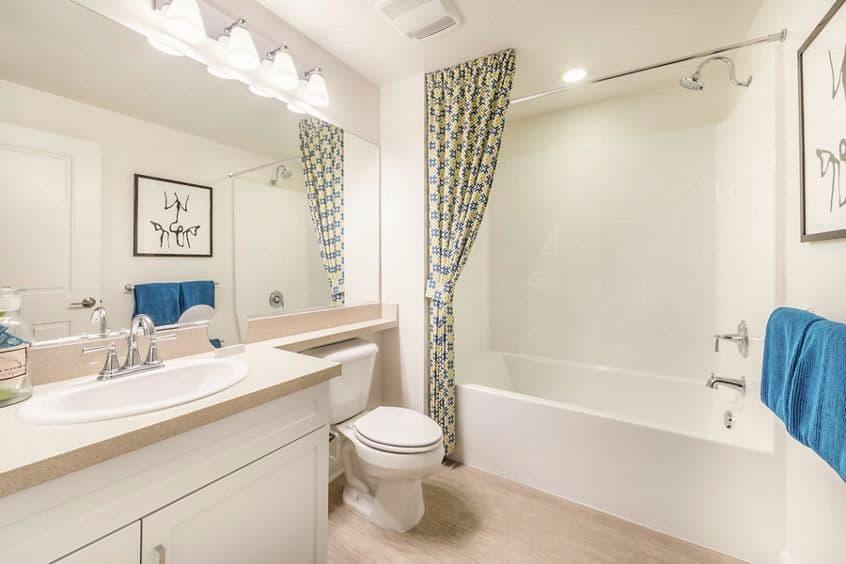 Interior view of bathroom at of Avella Apartment Homes in Irvine, CA.