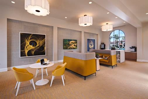 Interior view of ilounge at Avella Apartment Homes in Irvine, CA.
