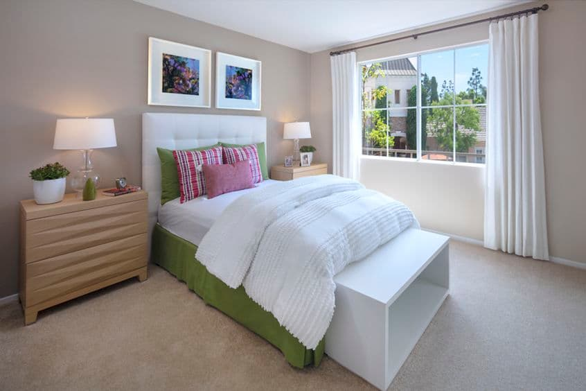 Interior view of bedroom at Brittany Apartment Homes in Irvine, CA.