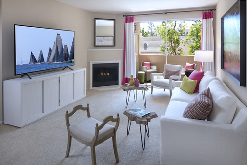 Interior view of living room at Brittany Apartment Homes in Irvine, CA.