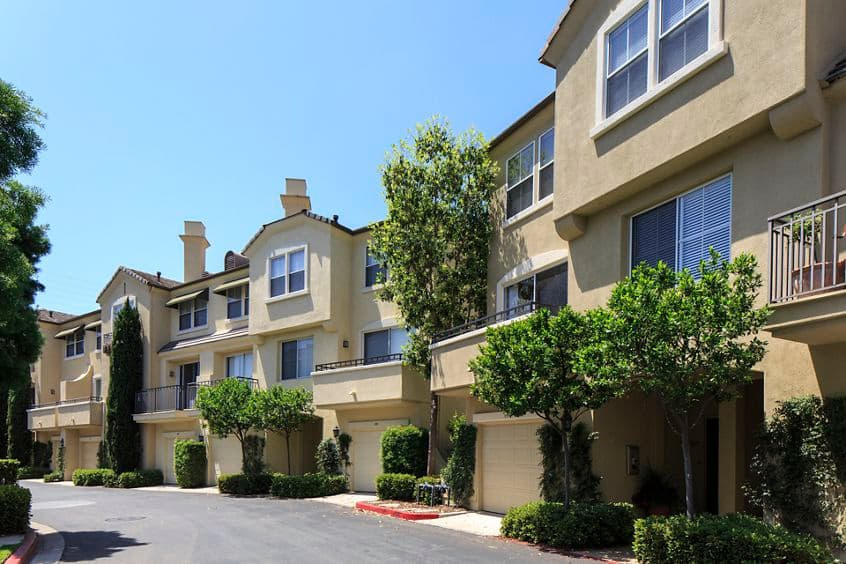 Exterior view of Brittany Apartment Homes in Irvine, CA.