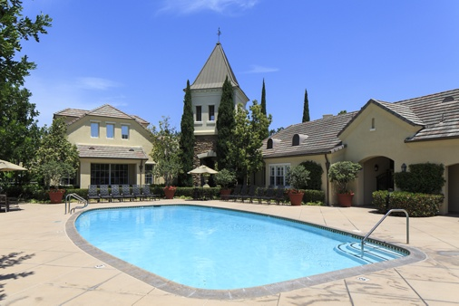 Pool view at Brittany Apartment Homes in Irvine, CA.