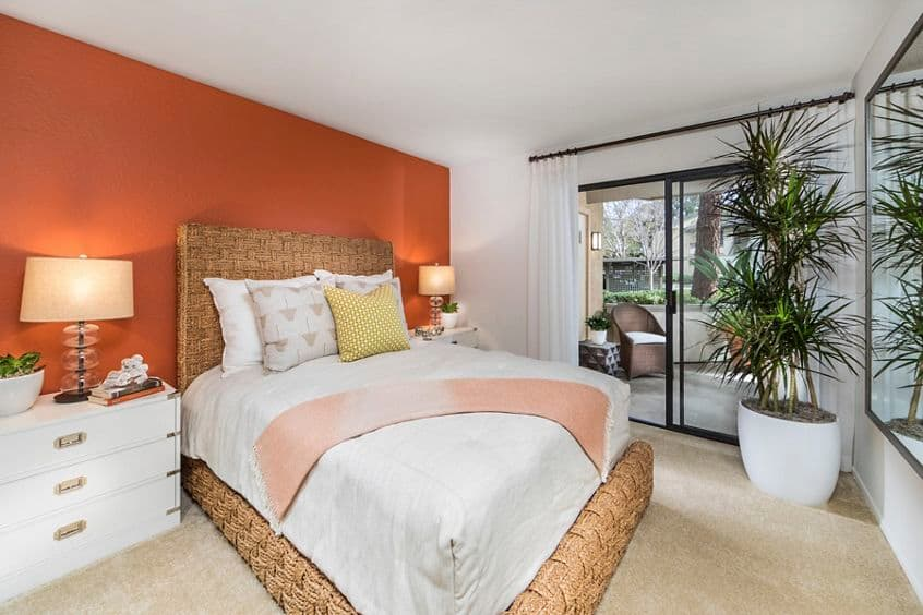 Interior view of bedroom at Cedar Creek Apartment Homes in Irvine, CA.