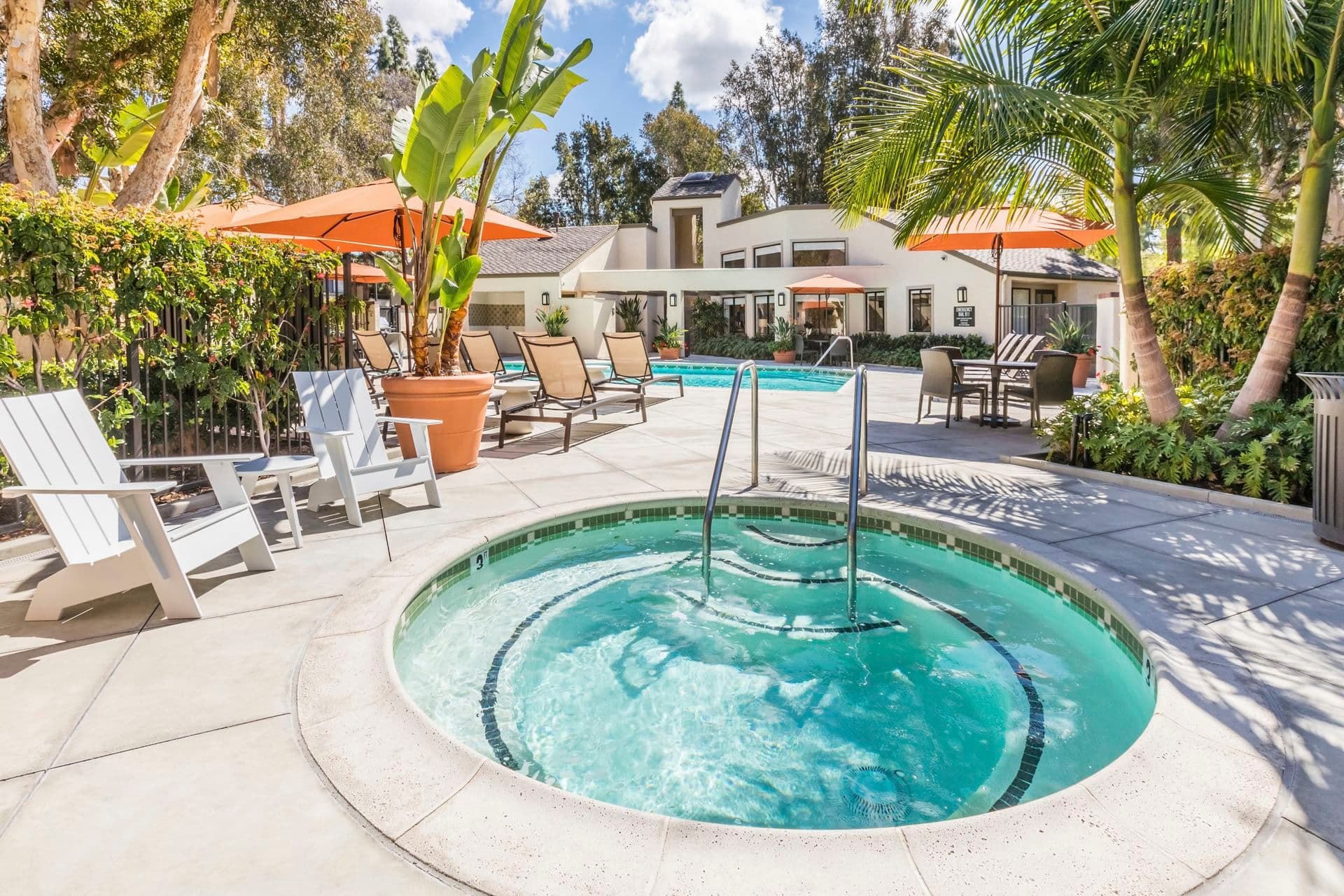 Pool view at Cedar Creek Apartment Homes in Irvine, CA.