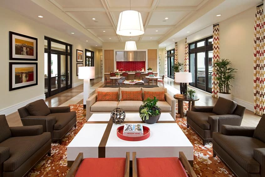 Interior view of clubhouse at Centerpointe at Irvine Spectrum Apartment Homes in Irvine, CA.