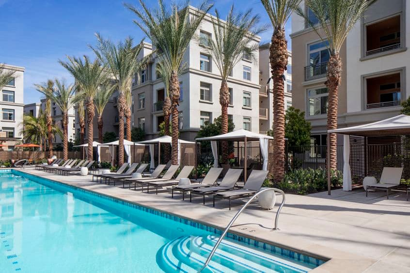 Exterior view of pool at Centerpointe at Irvine Spectrum Apartment Homes in Irvine, CA.