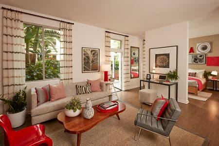 Interior view of living room at Centerpointe at Irvine Spectrum Apartment Homes in Irvine, CA.