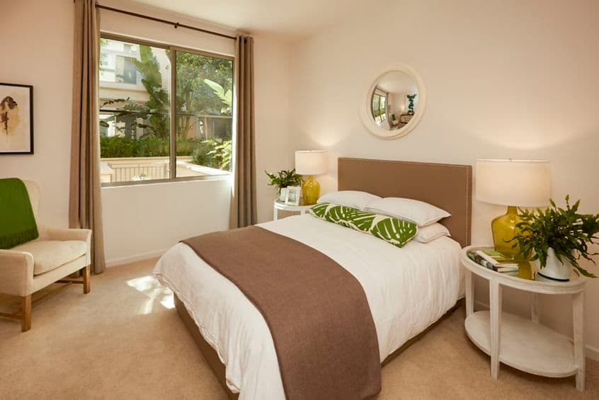 Interior view of bedroom at Centerpointe at Irvine Spectrum Apartment Homes in Irvine, CA.