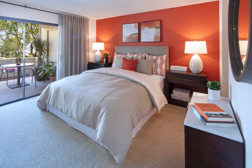 Interior view of bedroom at Cross Creek Apartment Homes in Irvine, CA.