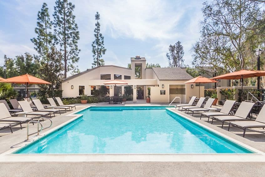 Exterior view of pool at Cross Creek Apartment Homes in Irvine, CA.