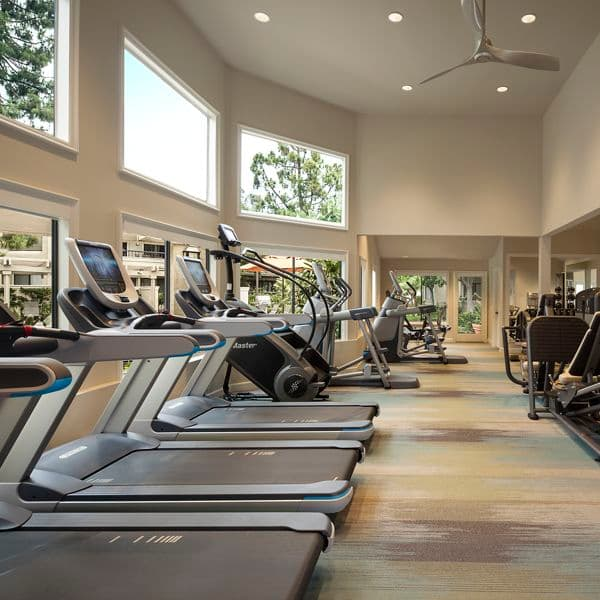 Interior view of fitness center at Cross Creek Apartment Homes in Irvine, CA.