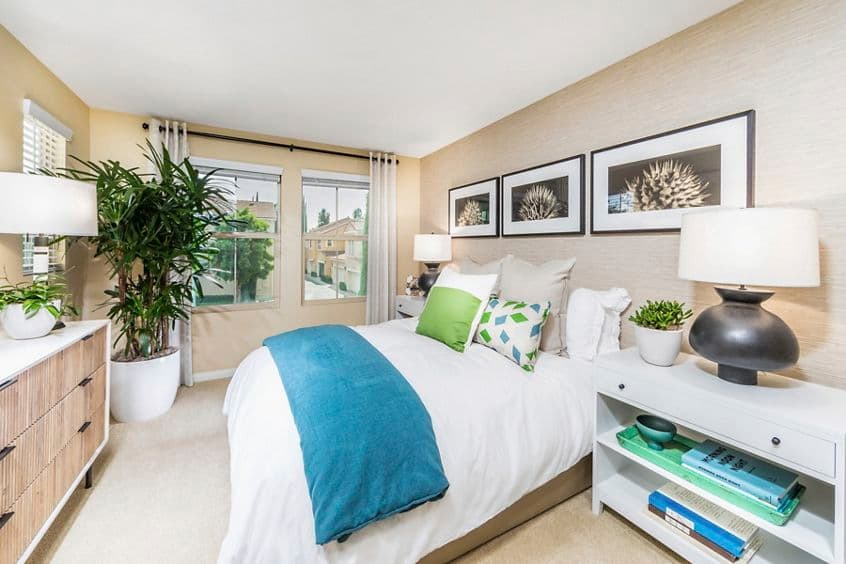 Interior view of bedroom at Cadenza at Cypress Village Apartment Homes in Irvine, CA.