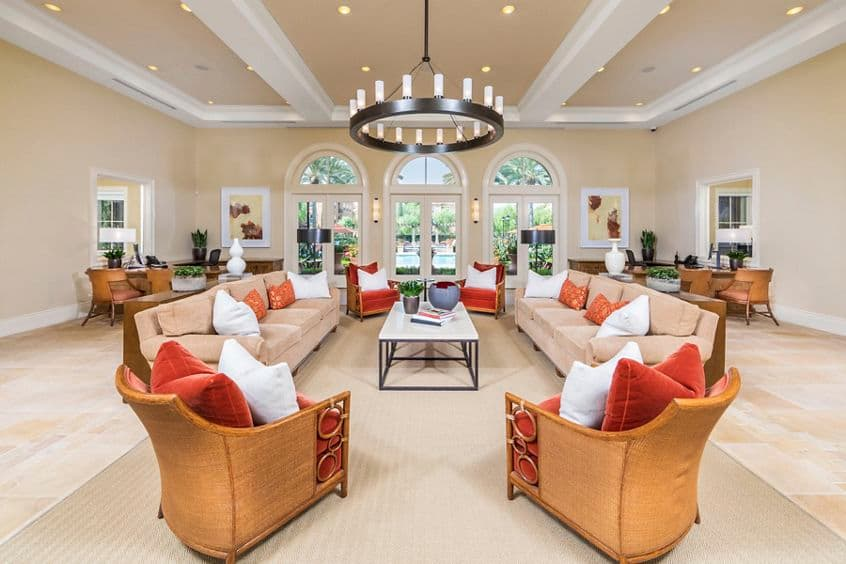 Interior view of leasing center at Murano Apartment Homes at Cypress Village in Irvine, CA.