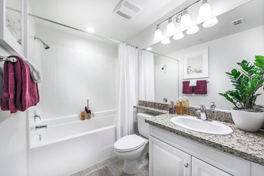 Interior view of bathroom at Murano Apartment Homes at Cypress Village in Irvine, CA.