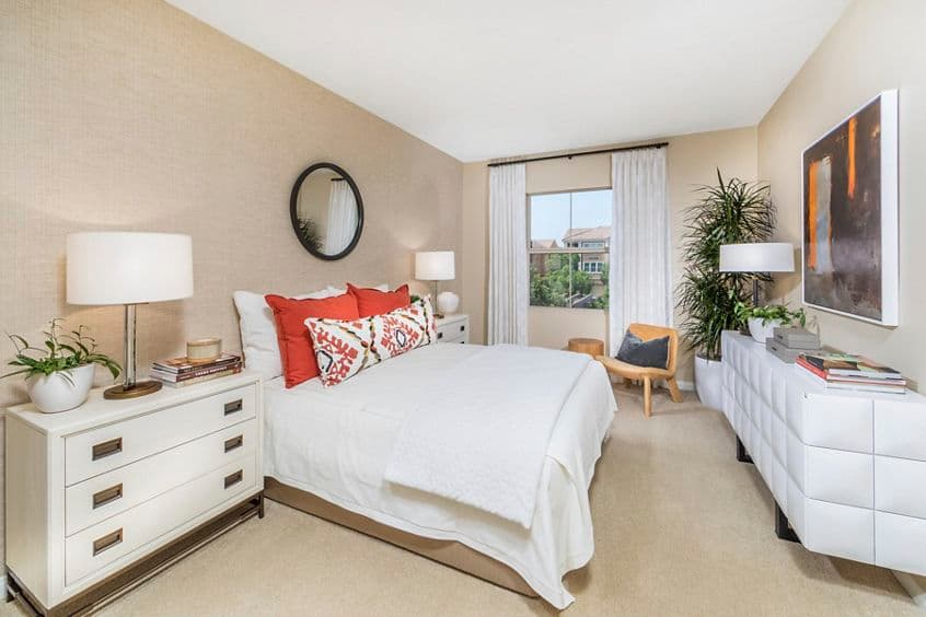 Interior view of bedroom at Veneto Apartment Homes at Cypress Village in Irvine, CA.