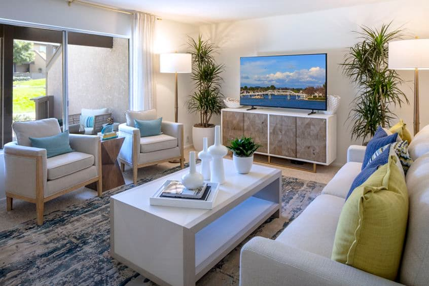 Interior view of living room at Deerfield Apartment Homes in Irvine, CA.