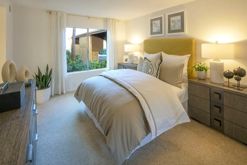 Interior view of bedroom at Deerfield Apartment Homes in Irvine, CA.