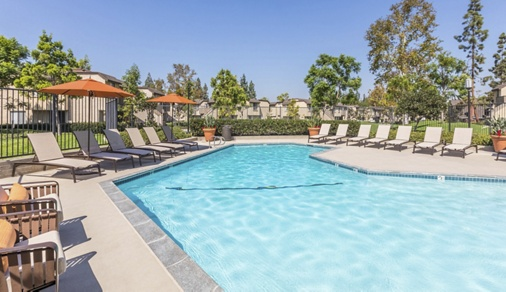 Exterior view pool at Deerfield Apartment Homes in Irvine, CA.
