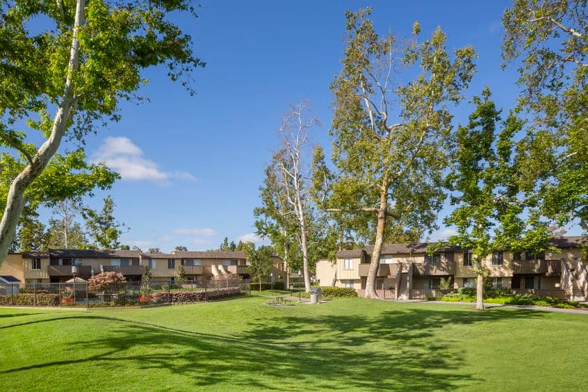Exterior view of Deerfield Apartment Homes in Irvine, CA.