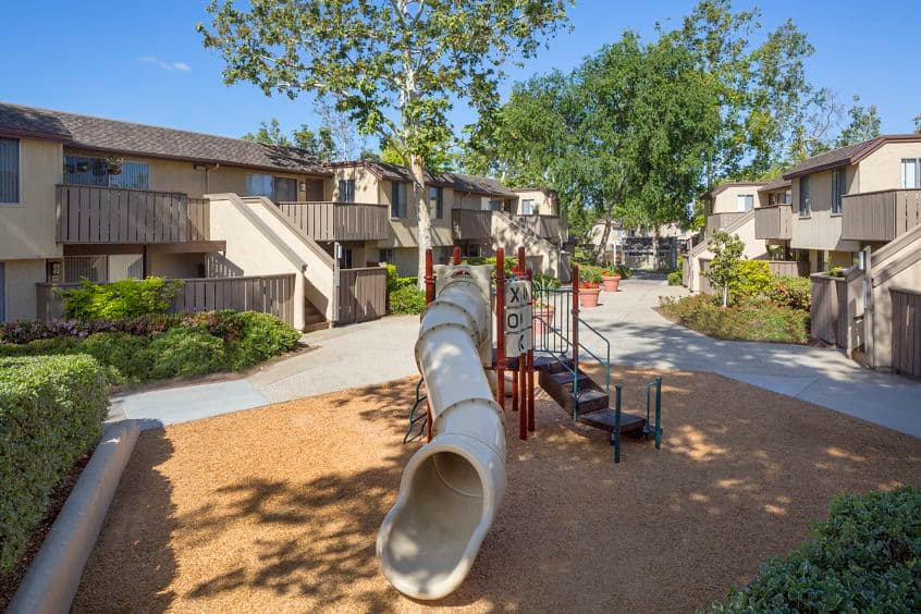 Exterior view of playground at Deerfield Apartment Homes in Irvine, CA.