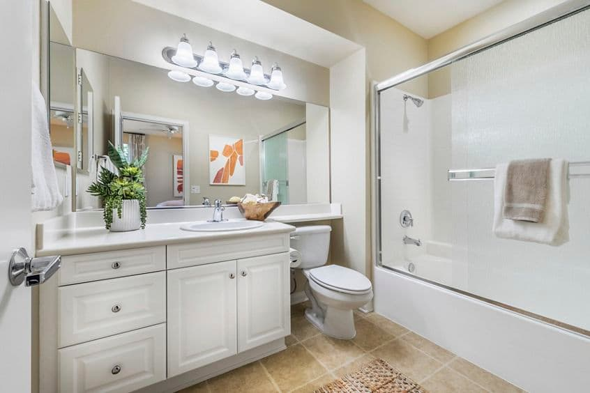 Interior view of bathroom at Esperanza Apartment Communities in Irvine, CA.