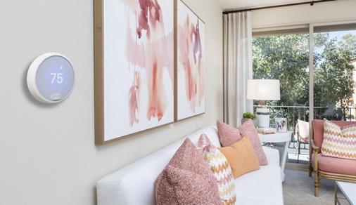 Interior view of Nest Thermostat at Esperanza Apartment Communities in Irvine, CA.
