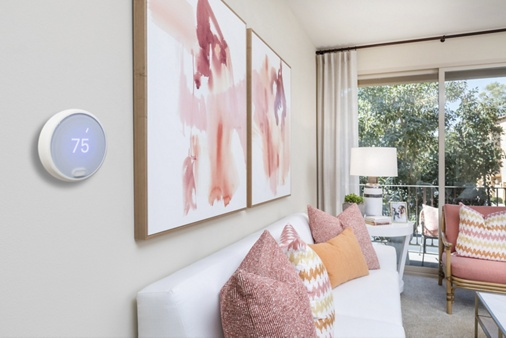 Interior view of Nest Thermostat at Esperanza Apartment Communities in Irvine, CA.