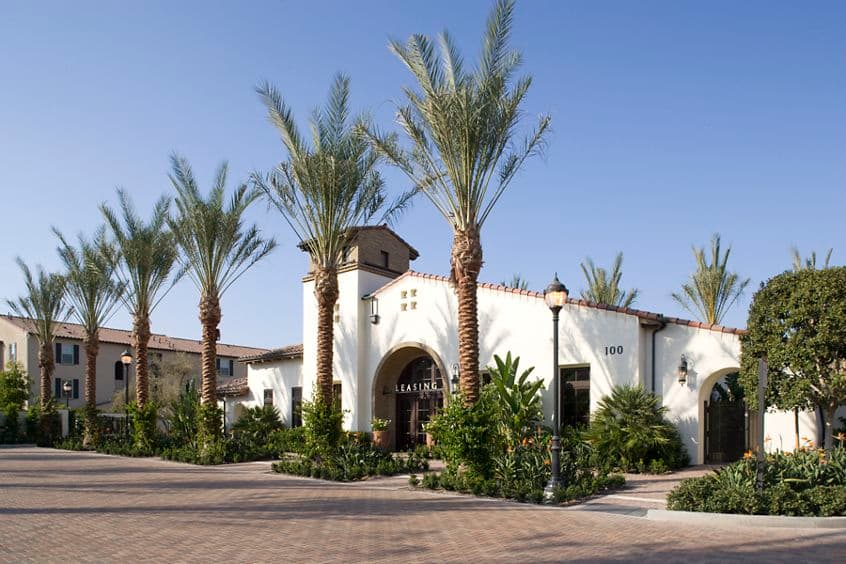 Exterior view of Leasing Center at Esperanza Apartment Homes in Irvine, CA.