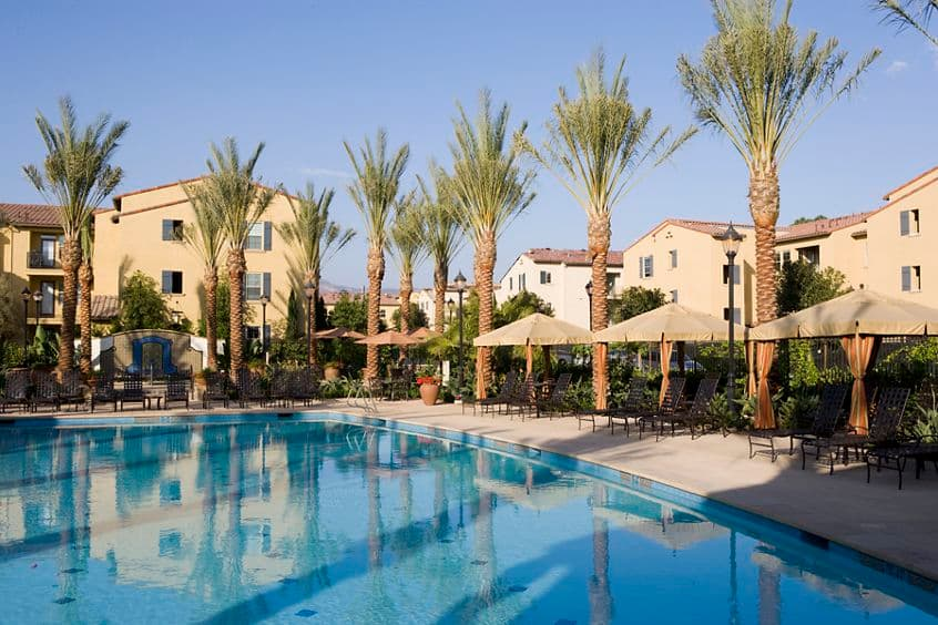 Pool view at Esperanza Apartment Homes in Irvine, CA.