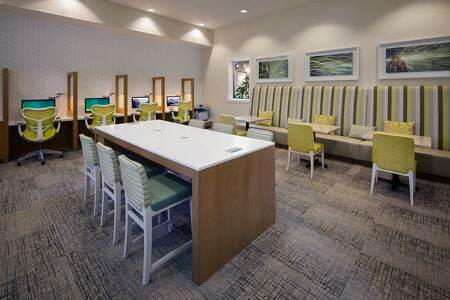 Interior view of business center at Estancia Apartment Homes in Irvine, CA.