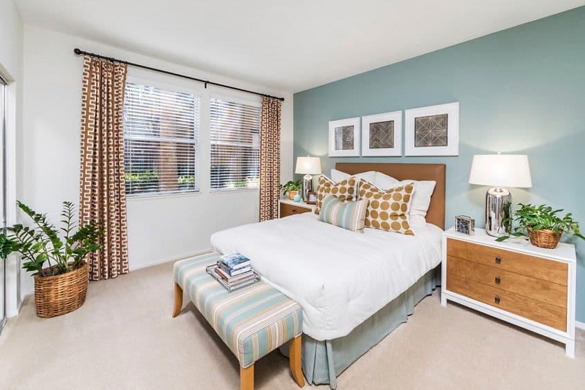 Interior view of bedroom at Estancia Apartment Homes in Irvine, CA.