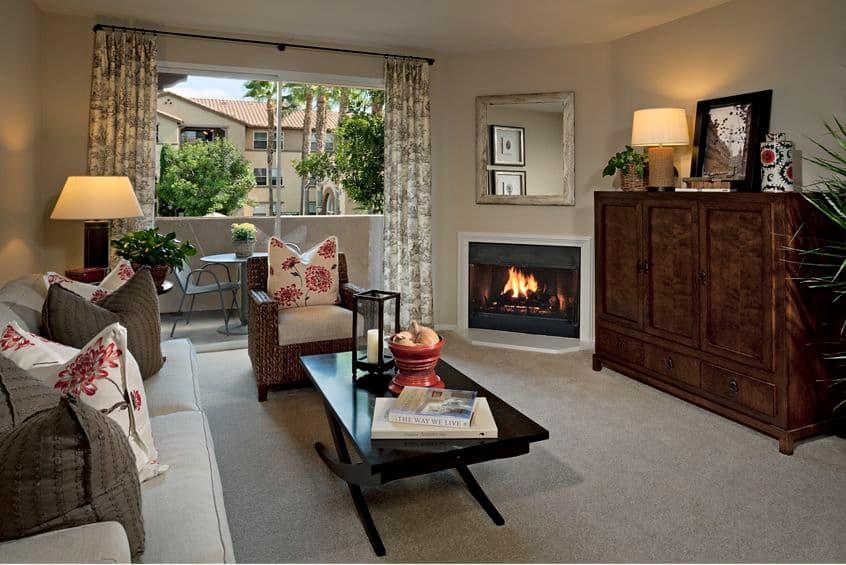Interior view of living room at Estancia Apartment Homes in Irvine, CA.