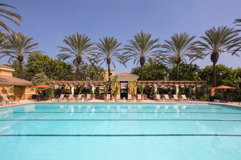 Exterior view of pool at Las Palmas Apartment Homes in Irvine, CA.