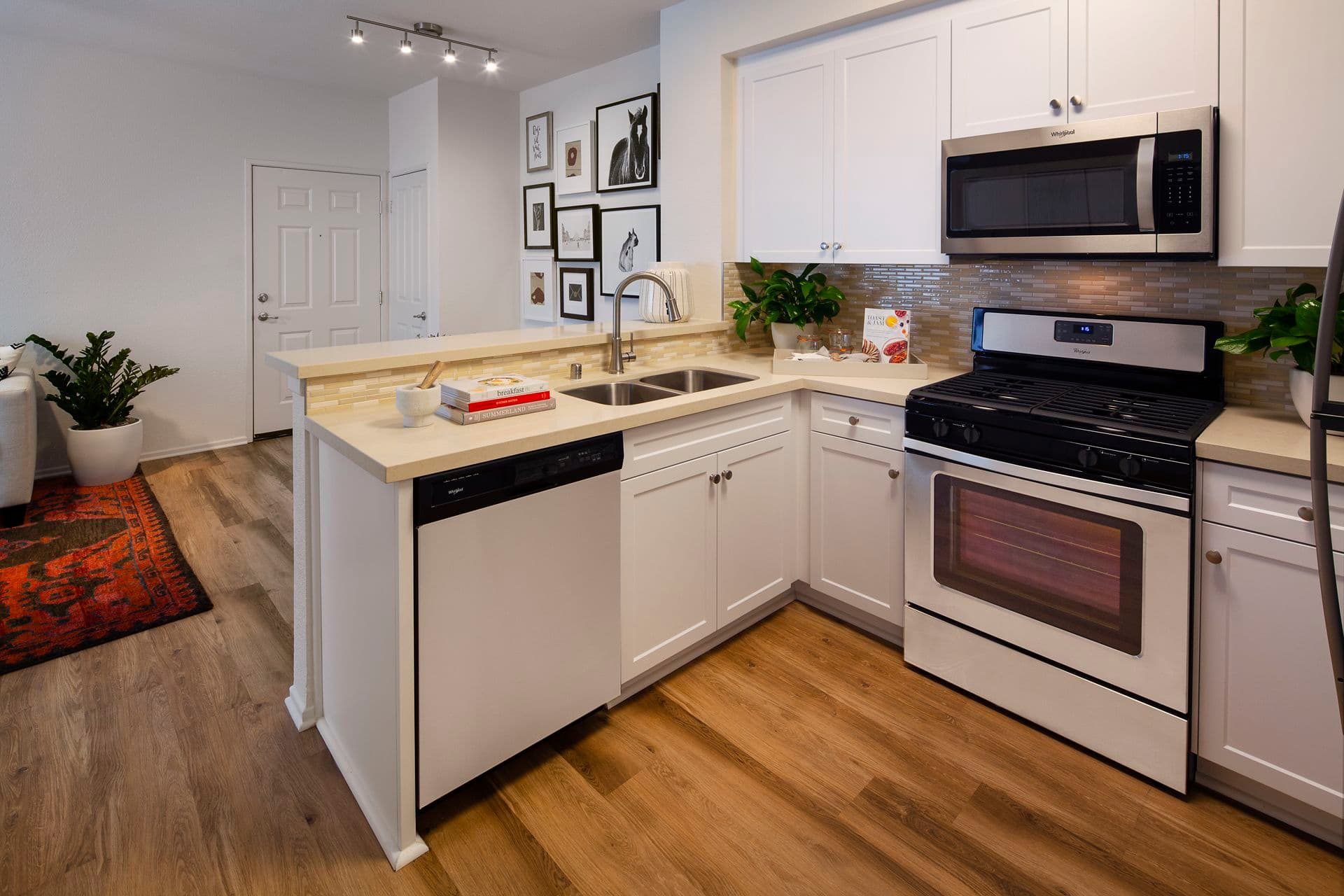 Interior view of the kitchen at Las Palmas Apartment Homes in Irvine, CA.