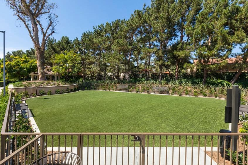 View of dog park at Las Palmas Apartment Homes in Irvine, CA.