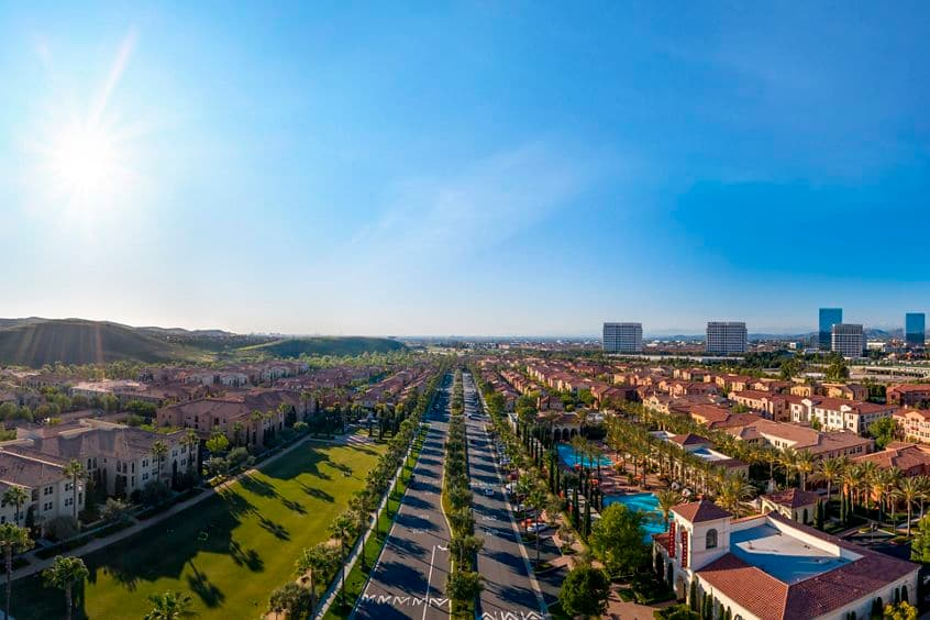 Exterior aerial panorama view at Los Olivos at Irvine Spectrum Apartment Homes in Irvine, CA.