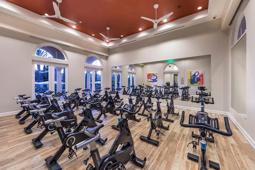Interior view of fitness center at Los Olivos Apartment Homes at Irvine Spectrum in Irvine, CA.