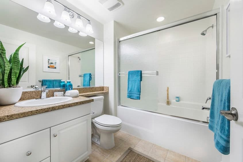 Interior view of bathroom at Los Olivos Apartment Homes at Irvine Spectrum in Irvine, CA.