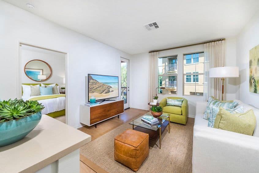 Interior view of living room at Los Olivos Apartment Homes at Irvine Spectrum in Irvine, CA.