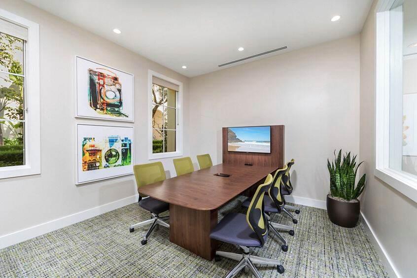 Interior view of iLounge business center at Los Olivos Apartment Homes at Irvine Spectrum in Irvine, CA.
