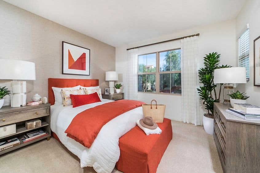 Interior view of bedroom at Los Olivos Apartment Homes at Irvine Spectrum in Irvine, CA.