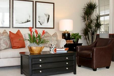 Interior view of living room at Mirasol Apartment Homes in Stonegate, Irvine, CA.