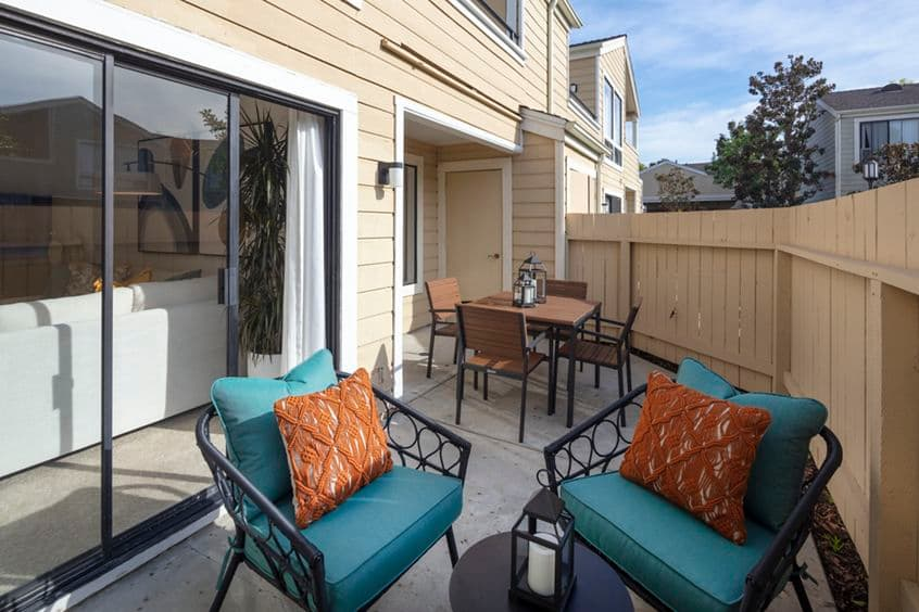 Exterior view of patio terrace at Northwood Park Apartment Homes in Irvine, CA.