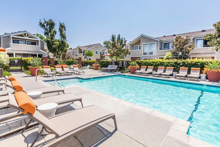 Exterior view of pool at Northwood Park Apartment Homes in Irvine, CA.
